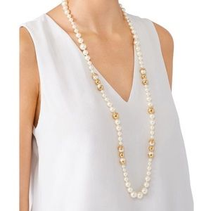 Tory Burch Capped Gold Pearl Necklace Long NWT